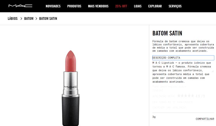 Batom Satin MAC descrição de produto