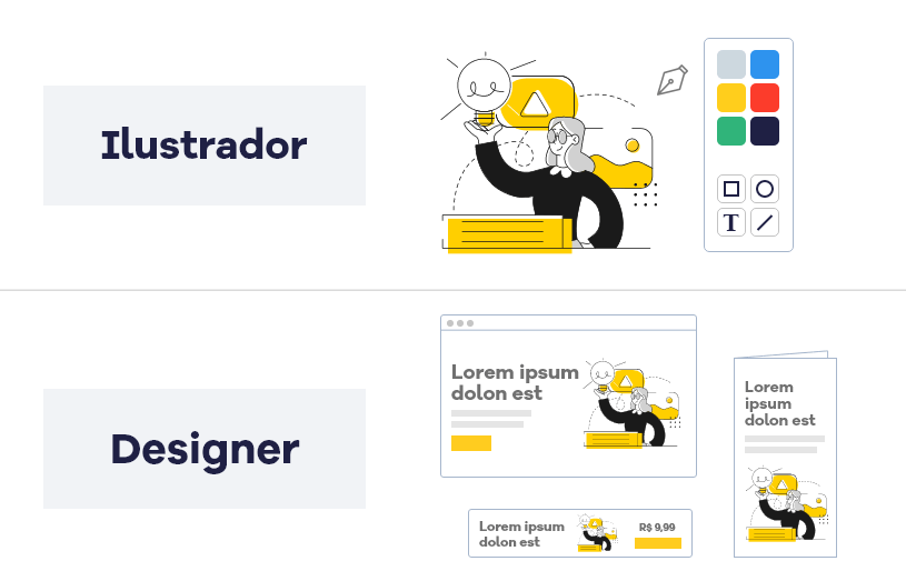 Diferença entre ilustrador e designer