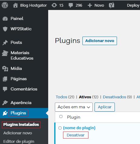 Desativação de plugins no WordPress-1