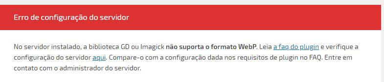 Erro de configuração do servidor