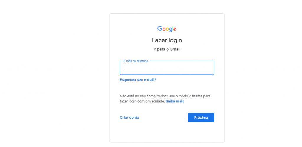Fazer login no Gmail