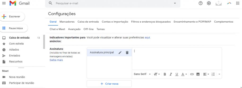 Opção assinatura principal no Gmail