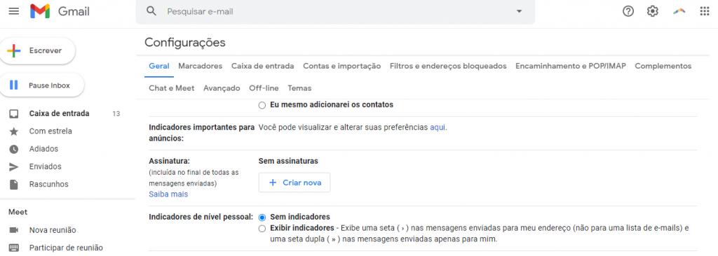 Opção assinatura no Gmail