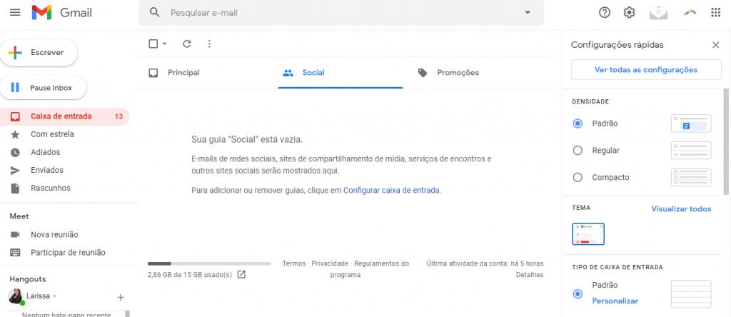 Ver todas as configurações no Gmail