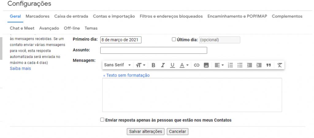 Salvar alterações do Gmail