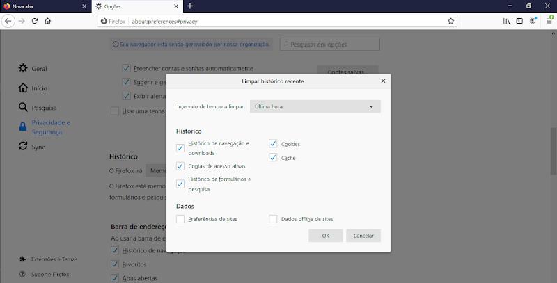Histórico navegador Mozilla