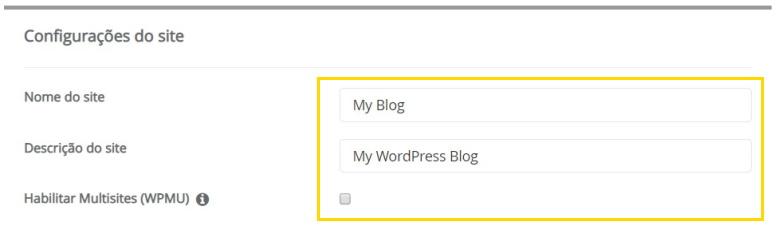 Configuração do site WordPress