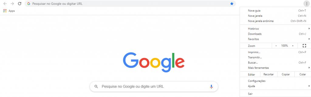Menu Google Chrome