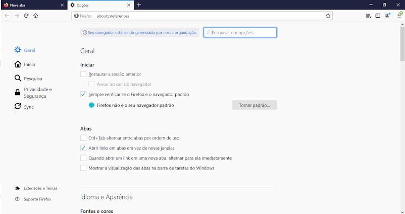 Preferências Mozilla navegador