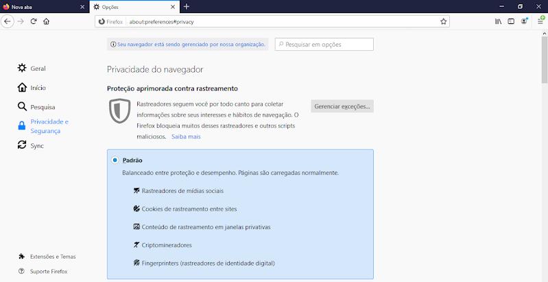 Privacidade e Segurança navegador Mozilla