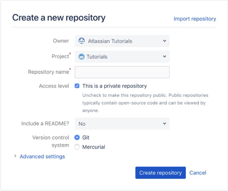 criar novo repositório bitbucket