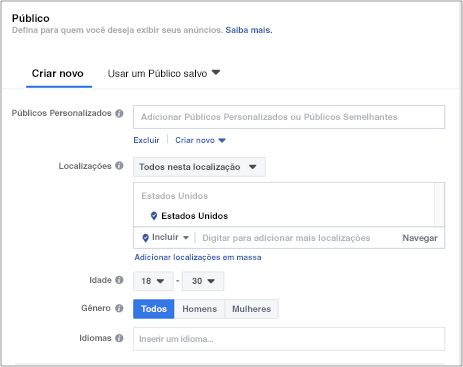 publico alvo anuncio facebook