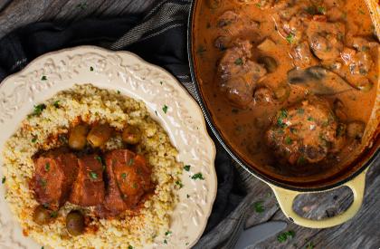 Photo de la recette de Osso buco de porc sauce rosée + Filet de porc à la marocaine