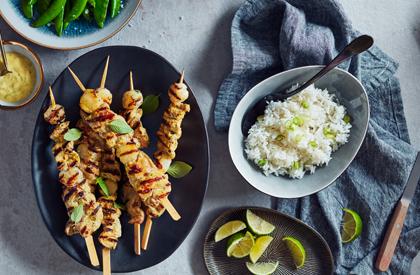 Photo de la recette de Brochettes de porc et pétoncles à la thaïlandaise