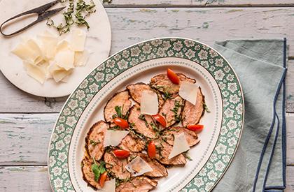 Photo de la recette de Tataki de porc aux copeaux de parmesan