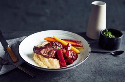 Photo de la recette de Joues de porc mijotées au vin rouge