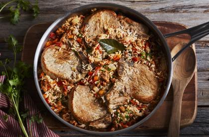 Photo de la recette de Casserole de riz au porc à l'italienne