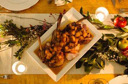 Photo de la recette de Côtelettes de porc aux pêches