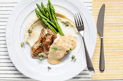 Photo de la recette de Escalopes de porc et sauce à la moutarde