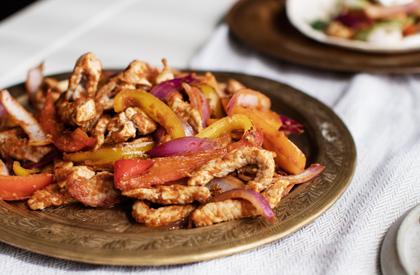 Photo de la recette de Fajitas de porc aux pommes et aux crevettes