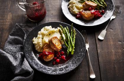 Photo de la recette de Médaillons de porc, sauce aux canneberges et au porto