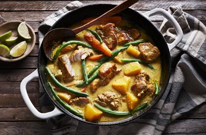 Photo de la recette de Mijoté de porc à la courge et lait de coco