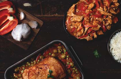 Photo de la recette de Sauté de longe de porc façon Fajitas + Rôti de longe de porc à l'Espagnol