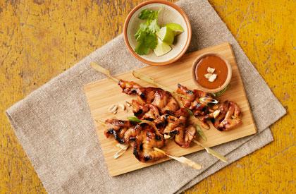 Photo de la recette de Brochettes satay, sauce aux arachides