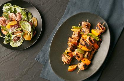 Photo de la recette de Brochettes de porc à l'orange