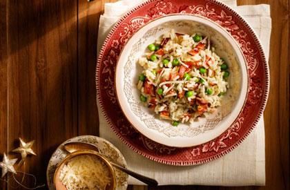 Photo de la recette de Risotto au bacon et petits pois