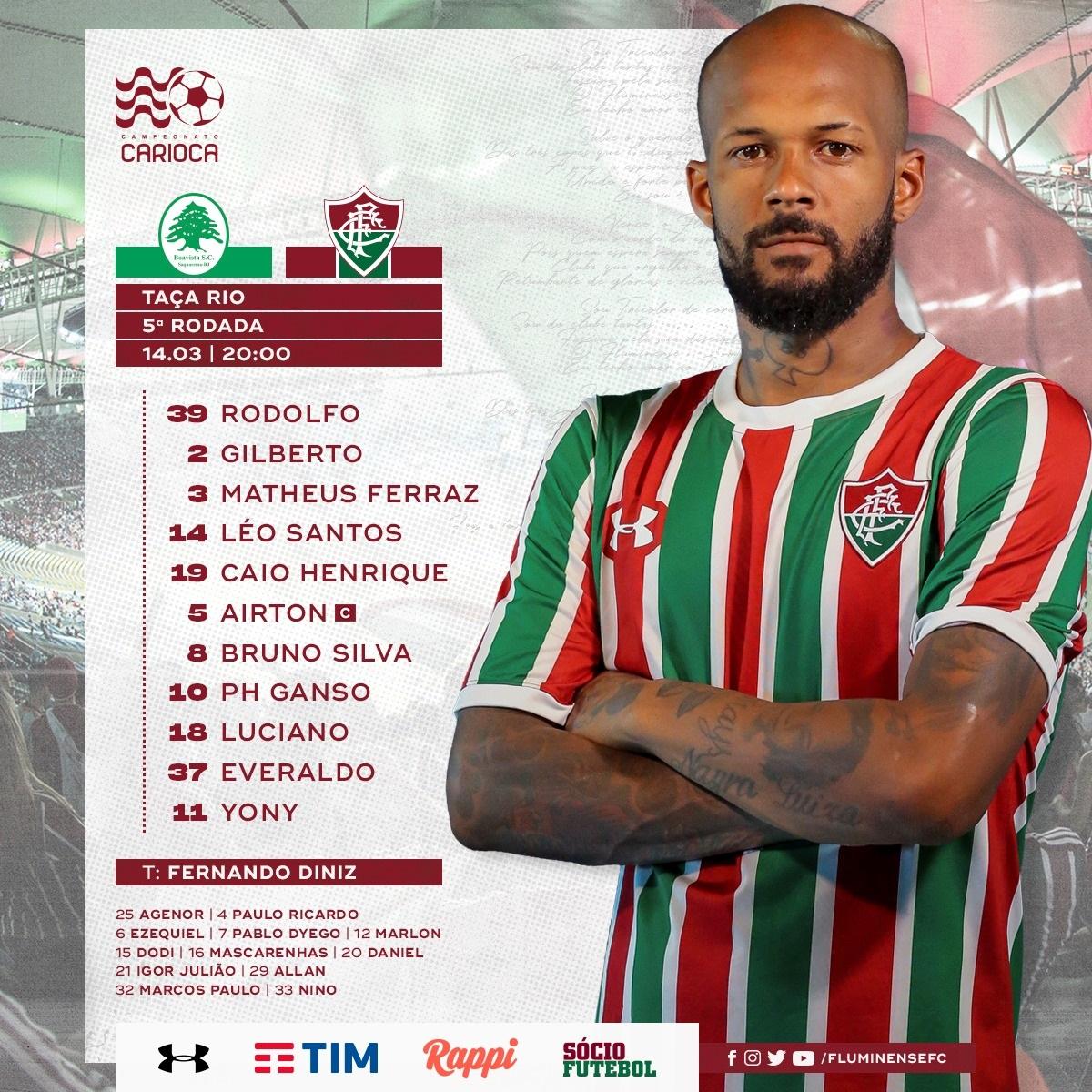 465e28b895a Fluminense escalado para enfrentar o Boavista — Fluminense ...