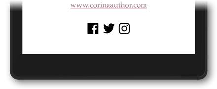 Facebook, Twitter, and Instagram buttons in an ebook