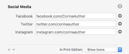 Entries for profiles on Facebook, Twitter, and other sites