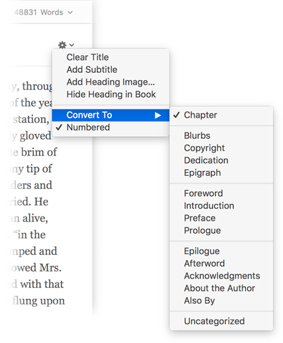 The Convert To menu offers options for converting an element type