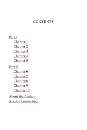 In the Table of Contents, chapters are listed under parts