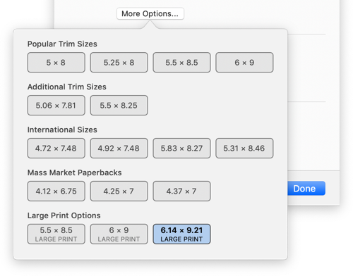 Find large print presets by pressing More Options