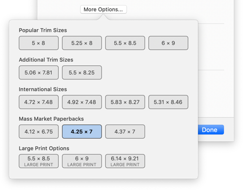 Find mass market sizes by pressing More Options