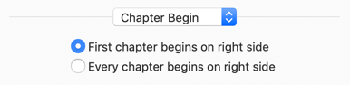 Choose whether the fist chapter or every chapter begins on the right