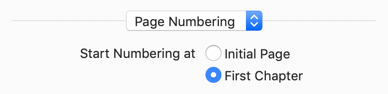 Controls for where pages begin numbering