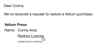 Click the Restore License link in your email
