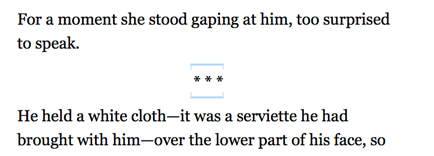 An ornamental break in Vellum's Text Editor