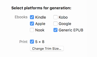 Platform selection options include a checkbox for Generic EPUB