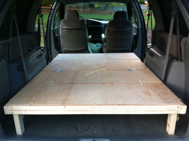 Minivan camper conversion stage one complete morehawes for 99 bus table