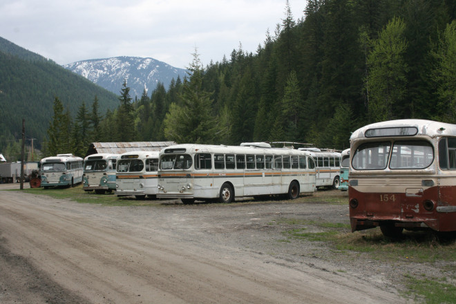 Bus graveyard at the ghost town of Sandon