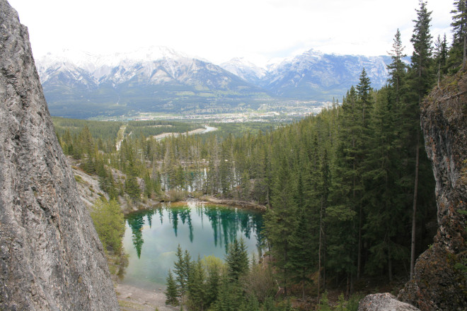 Looking over Canmore from the Grassi Lakes trail