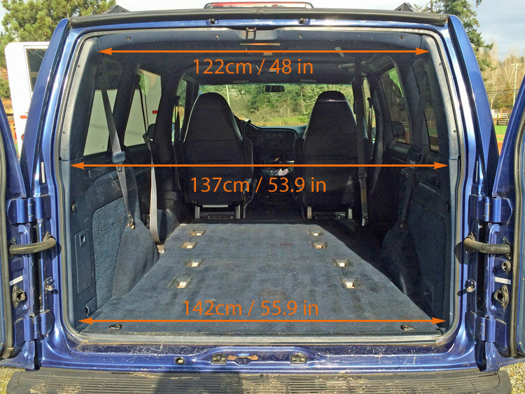 GMC Safari / Astro Van Interior Measurements for Minivan Camper