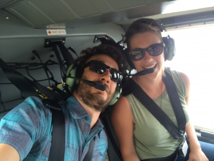 Treating ourselves to a helicopter ride in Canmore
