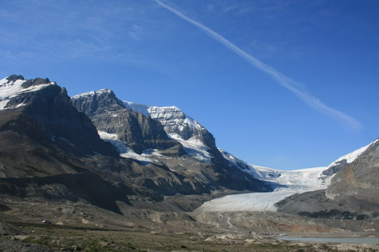 View of a glacier from the Icefields Parkway