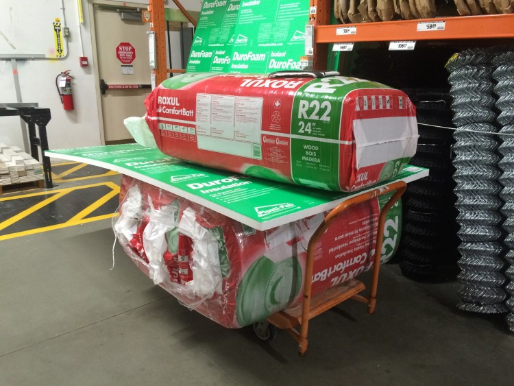 Buying insulation. I should have chosen a bigger cart