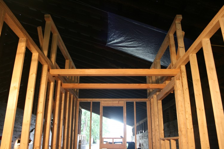 The loft walls in place